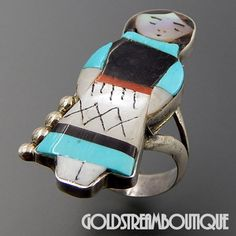 JOYCE WASETA ZUNI MULTI GEMSTONE INLAY KACHINA RING SIZE 6.25
