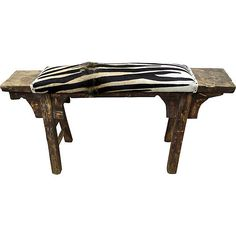 Pre-Owned Antique Shandong Bench w/ Hair-On Hide (60,125 PHP) ❤ liked on Polyvore featuring home, furniture, benches, antique furniture, antique black furniture, black bench, hair on hide bench and antique bench
