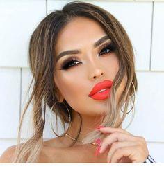 Pin on Red Lipstick Smokey Eye Makeup, Lip Makeup, Makeup Tips, Makeup Ideas, Contour Makeup Diy, Orange Lipstick Makeup, Coral Eye Makeup, Sexy Eye Makeup, Coral Lipstick