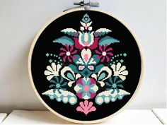 Folk ornament floral hoop cross stitch pattern, modern easy counted cross stitch chart, flower geometric, abstract, embroidery, instant pdf by PatternArtCollection on Etsy