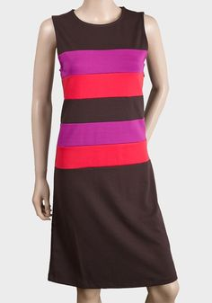Ladies Sleeveless Dress (brown/pink panel stripe)  BNWT  UK SIZE 14 (42) Color Blocking, Colour Block, Boy Fashion, Fashion Outfits, Latest Fashion Clothes, Style Inspiration, Red Purple, Pink, Lady