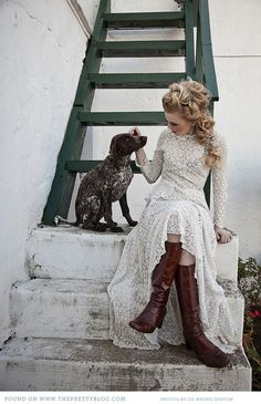 Winter Wedding, vintage lace and long sleeves