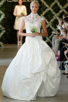 e7810eb6e00 Oscar de la Renta wedding dress with high necklines