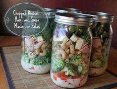 chopped broccoli ham and swiss mason jar salad