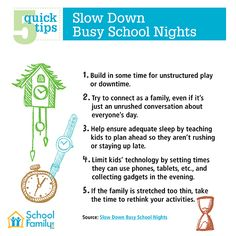 If your child's after-school activities and homework load leave little time to relax and unwind, it's time to restore some balance to your family's busy schedule. This printable sheet of 5 quick tips can help.