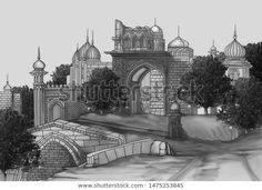 Mughal Architectural Manual Illustration Textile Print Stock Illustration 1475253845 Textile Prints, Textiles, Mughal Paintings, Taj Mahal, Manual, Royalty Free Stock Photos, Places To Visit, Architecture, Building