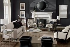 Joanna- this makes me want my living room dark painted versus light. Living Room Shop, Formal Living Rooms, Home And Living, Living Spaces, Modern Living, Small Living, Home Design, Home Interior Design, Interior Paint