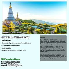 3D2N CHANGMAI FREE & EASY minimum of 2 persons to travel  For more inquiries please call: Landline: (+63 2) 282-6848  Phone: (+63) 918 238 9506 or E-mail us: info@travelph.com #Changmai #Thailand #TravelPH #TravelWithNoWorries Doi Inthanon National Park, Daily Day, Chiang Mai, Statue Of Liberty, Thailand, National Parks, Tours, Phone, City