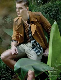 """Sebastian Sauvé in """"Tropical Delight"""" by Greg Lotus for the March 2015 Issue of Manifesto Magazine"""