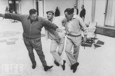 Jackie Gleason and Gene Kelly tap dance with Ed Sullivan