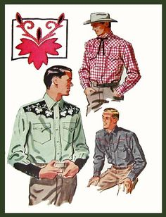 1950's Men's Western Shirts Pattern Illustration.