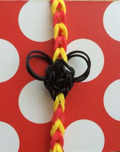 Rainbow Loom - MICKEY MOUSE Red and Yellow Striped Bracelet  - Latex Free