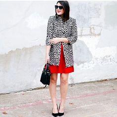 Animal print coat and Red dress