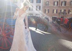 Inbal Dror br-12-06 Backless V Neck Long Sleeve Feminine Lace Chapel Train Wedding Dress. Buy the dress here https://www.facebook.com/weddingaboutall