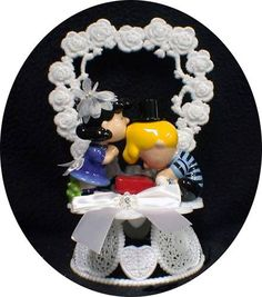 LUCY & SCHROEDER Wedding Cake topper Snoopy Peanut Gang  So what I wanted on my wedding cake 11 years ago just wanted Schroeder to have a computer