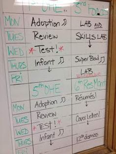 FACS Classroom Ideas...make a master list of the week so students can check what they missed. add if it is handed in for a grade