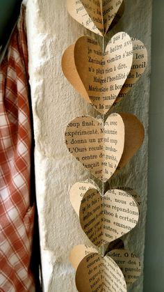 SALE, Paper Garland, Vintage Books Hearts, Heart Garland, Wedding garland, CHOOSE The LANGUAGE