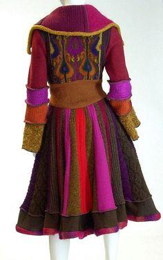 Flared Skirt Sweater Coat Magenta  and Brown by Brendaabdullah
