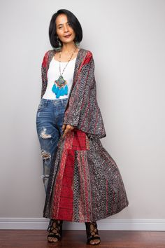Your place to buy and sell all things handmade Long Kimono Outfit, Boho Kimono, Dress Long, Wrap Cardigan, Kimono Cardigan, Long Cardigan, Duster Vest, Long Duster, Floral Duster