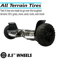 "Vecaro TREK-X-CMGR 8.5"" Hoverboard With Bluetooth/App/Off-Road Wheels - UL 2272 Certified - Off-Road Hoverboards"