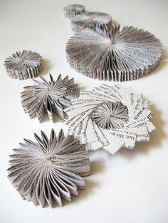 Paper Cog Wall Sculpture Appliques - Recycled Book Art Home Decor Ornaments