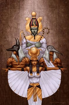 Osiris, Anubis, Horus, and Isis Egyptian Mythology, Egyptian Goddess, Egyptian Symbols, Isis Goddess, African American Art, African Art, Ancient Egypt, Ancient History, European History
