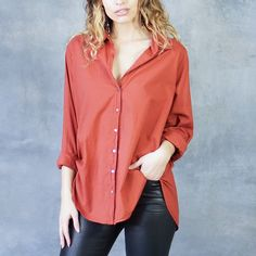 Xirena Beau Boyfriend Button Up Shirt in Sienna