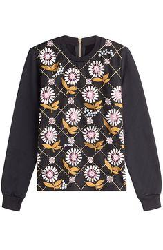 MARKUS LUPFER Embroidered Cotton Top with Embellishment. #markuslupfer #cloth #sweatshirts