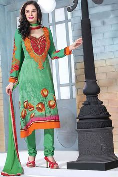 Green Straight Bollywood Style Party Wear Salwar Suit.