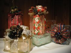 Beautiful light show of my Christmas Collection of Glass  Blocks & Bows, all available in my Etsy Shop!