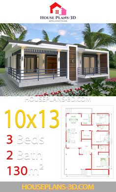 House design with 3 Bedrooms Terrace roof - House Plans House Plans Mansion, Dream House Plans, House Roof, Small House Plans, House Floor Plans, A Frame Cabin, A Frame House, House Construction Plan, House Design Pictures