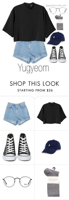"""Fair // Yugyeom"" by suga-infires ❤ liked on Polyvore featuring Monki, Converse, Ray-Ban and Falke"