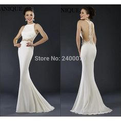 Find More Prom Dresses Information about Hot Sexy New White Chiffon Mermaid Prom Dresses Floor Length Sheer Waist Applique Illusion  Lace Evening Gowns ,High Quality dress ball gown,China dress up butterfly wings Suppliers, Cheap gown wedding dress from CDDRESSES Store on Aliexpress.com