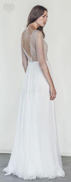 divine atelier 2018 bridal half sleeves deep v neck heavily embellished bodice romantic soft a  line wedding dress open v back sweep train (24) bv -- Divine Atelier 2018 Wedding Dresses