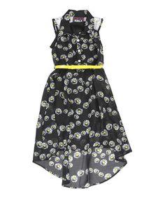 d133cc69739 Black Floral Belted Hi-Low Dress - Kids