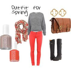 Love this whole outfit.  The earrings are ADORBS!  And I love Essie nail polish.