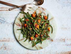 Blistered Green Beans w/ Tomato-Almond Pesto / Bon Appétit
