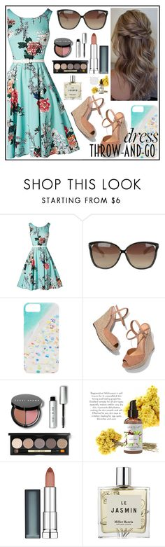 """Throw-and-Go Dress"" by thewizardingworld ❤ liked on Polyvore featuring Linda Farrow, Gray Malin, Schutz, Bobbi Brown Cosmetics, Maybelline, Miller Harris and contestentry"