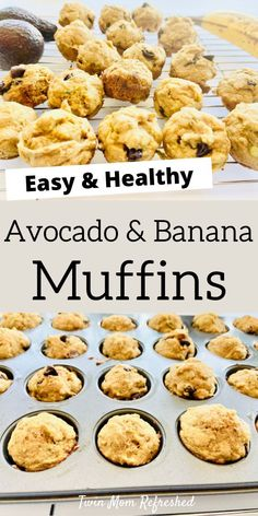 An easy avocado mini muffin recipe that's toddler and kid-friendly. These healthy muffins are made without refined sugar and are a good make-ahead breakfast or snack idea. # Food and Drink health Healthy Avocado Muffin Recipe Healthy Muffin Recipes, Banana Recipes, Healthy Baking, Baby Food Recipes, Snack Recipes, Healthy Recipes With Avocado, Pancake Recipes, Detox Recipes, Healthy Food