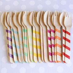 Shop Sweet Lulu. Rainbow Striped Wooden Spoons and Forks. $10.00 for 20 (ten spoons & ten forks). Cuuuuute!