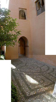 20070520 Alhambra: wall & patterned patio by Wild Guru Larry, via Flickr