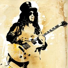 SLASH Guns n Roses portrait - Rock and Roll music art illustration - Poster size Canvas print size 18x24. $100.00, via Etsy.