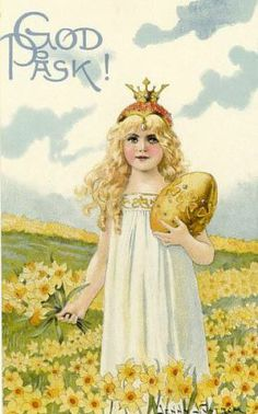 Easter Post Card, GIRL WITH DAISIES AND THE GOLDEN EGG..<3