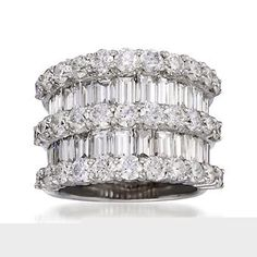 7.70 ct. t.w. Round and Baguette Diamond Ring In 18kt White Gold