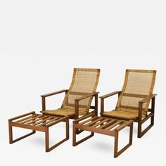 Pair of Oak & Cane Lounge Chairs by Børge Mogensen for Fredericia Stolefabrik by Børge  Mogensen Outdoor Chairs, Outdoor Furniture, Outdoor Decor, Scandinavian Modern, Design, Home Decor, Homemade Home Decor, Garden Chairs, Design Comics