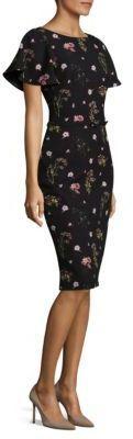 David Meister Floral Print Crepe Dress with back split detail, crewneck, flutter sleeves, belt detail at waist. affiliate link