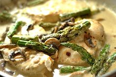 (Use 1 3/4 lb chicken to serve 7) Creamy Lemon Chicken with Asparagus and Mushrooms - Instead of butter and cream, this uses coconut milk and coconut oil. Yummy yummy yummy!