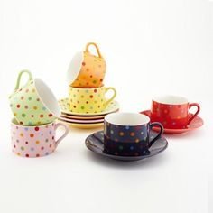 disc- Bed Bath & Beyond Classic Coffee & Tea Co. polka dot cup and saucer