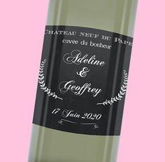 Etiquette de bouteille mariage moderne et raffinée, réf.N300524