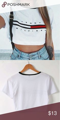 Tommy Hilfiger labeled cropped top COMING SOON!!!!!!!!  Cropped top, with Tommy Hilfiger written on top.   Brand listed is only for viewing purposes.  Tags : brandy Melville urban outfitters nike adidas forever 21  Tommy Hilfiger Zara top shop Tommy Hilfiger Tops Crop Tops